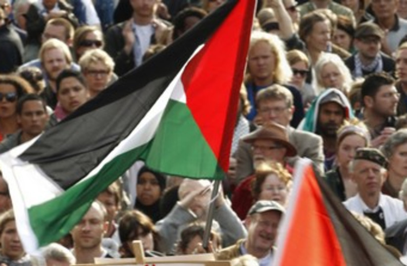 Pro-Palestinian demonstrators in Stockholm 370 (photo credit: REUTERS)