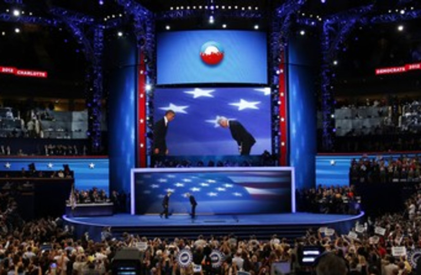 Past, former US presidents Clinton and Obama at DNC 370 (R) (photo credit: Jason Reed / Reuters)