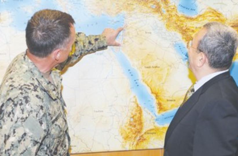 Barak with US Adm. James A. Winnefeld 370 (photo credit: Alon Bason/Defense Ministry)