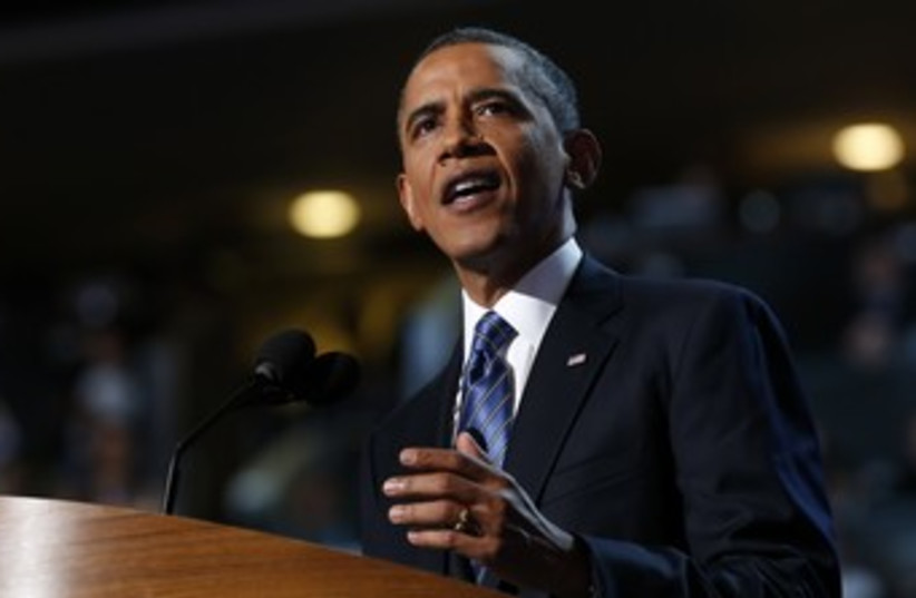 US President Barack Obama at Democratic Convention 370 (R) (photo credit: Jim Young / Reuters)
