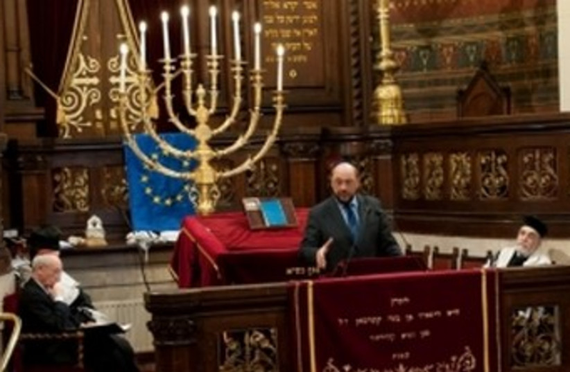Martin Schulz at the Great Synagogue of Europe, Brussels 370 (photo credit: Courtesy European Parliament)