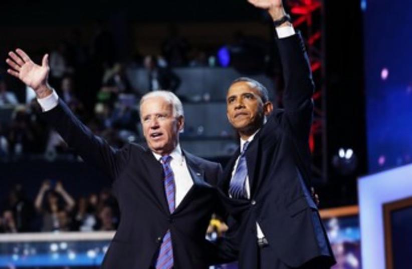 Biden, Obama accepting presidential nomination 370 (photo credit: REUTERS)