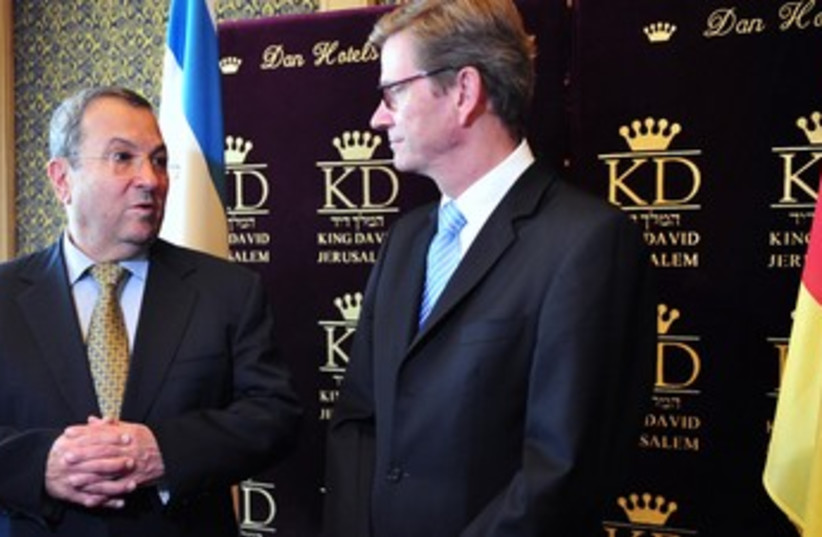 Defense Minister Ehud Barak, German FM Guido Westerwelle 370 (photo credit: Courtesy Defense Ministry)