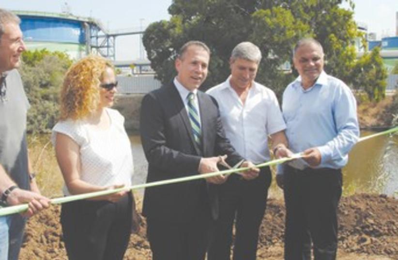 Environmental Protection Minister Erdan at Kishon River 370 (photo credit: Courtesy Kishon River Authority)