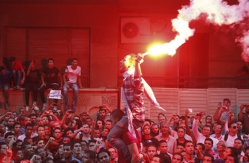 Protesters in front of the US embassy in Cairo 370 (photo credit: REUTERS)