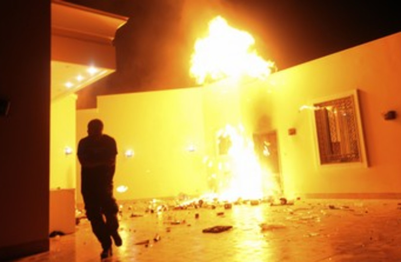 US Consulate in Benghazi, Libya in flames 370 (photo credit: reuters)
