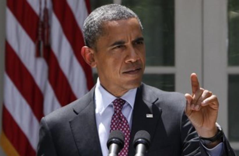 US President Obama speaks in White House Rose Garden 370 (photo credit: Yuri Gripas / Reuters)