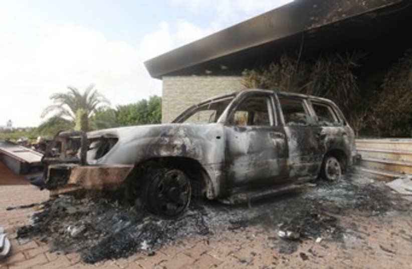 Scene of attack on US consulate in Libya 370 (R) (photo credit: Esam Al-Fetori / Reuters)