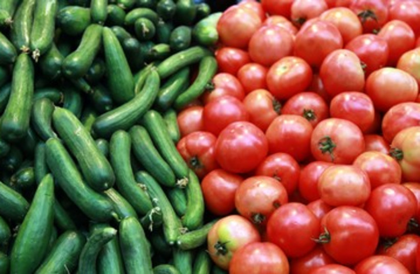 produce vegetables cucumbers and tomatoes 390 (photo credit: Marc Israel Sellem / The Jerusalem Post)