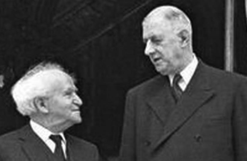 David Ben Gurion and Charles De Gaulle (photo credit: Jerusalem Post Archive)