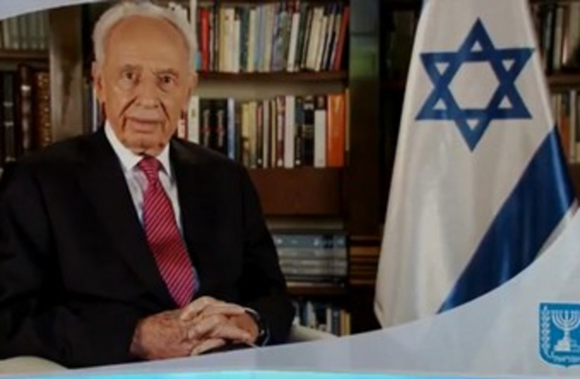 President Shimon Peres in holiday greeting 370 (photo credit: Screenshot)