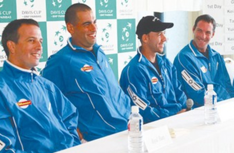 Israel's Davis Cup team 370 (photo credit: Sato Hiroshi)