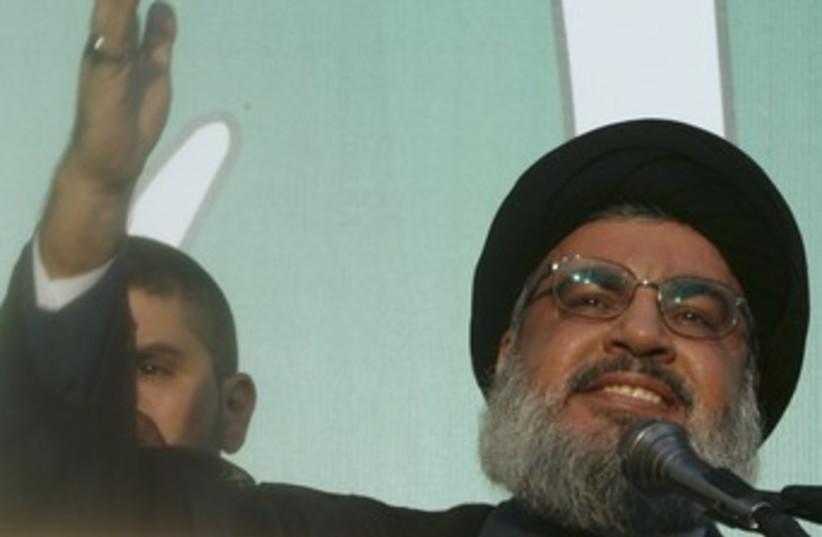 Nasarallah adresses crowd in Beirut (photo credit: REUTERS)