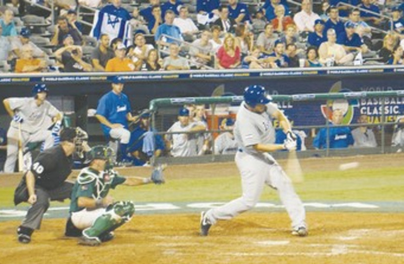 ISRAEL'S NATE FREIMAN hits home run 370 (photo credit: Guy Feld/courtesy)