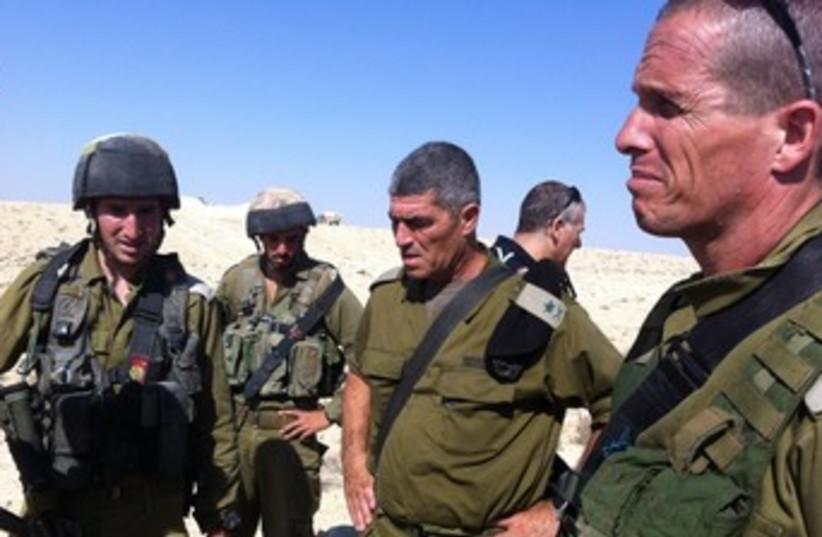 Tal Russo surveys scene of border incident (photo credit: IDF Spokesman's Office)