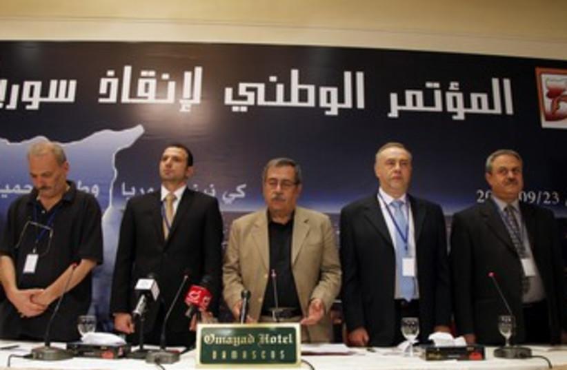Syrian internal opposition members (R370) (photo credit: REUTERS/Khaled Al Hariri)