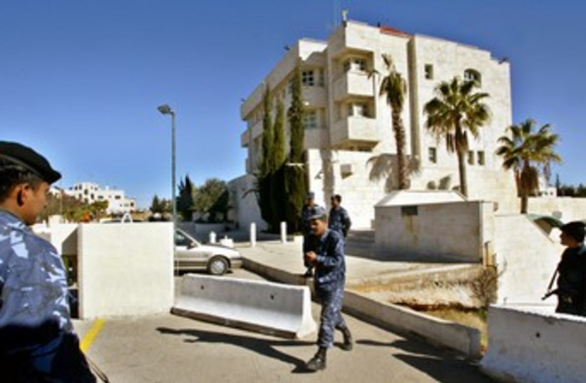 JORDANIAN POLICE GUARD ISRAEL'S EMBASSY IN AMMAN 370 (photo credit: REUTERS/Gil Cohen Magen)