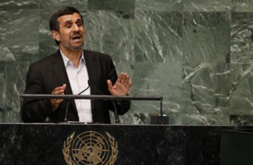 Iranian President Mahmoud Ahmadinejad at UN 370 (R) (photo credit: Mike Segar / Reuters)