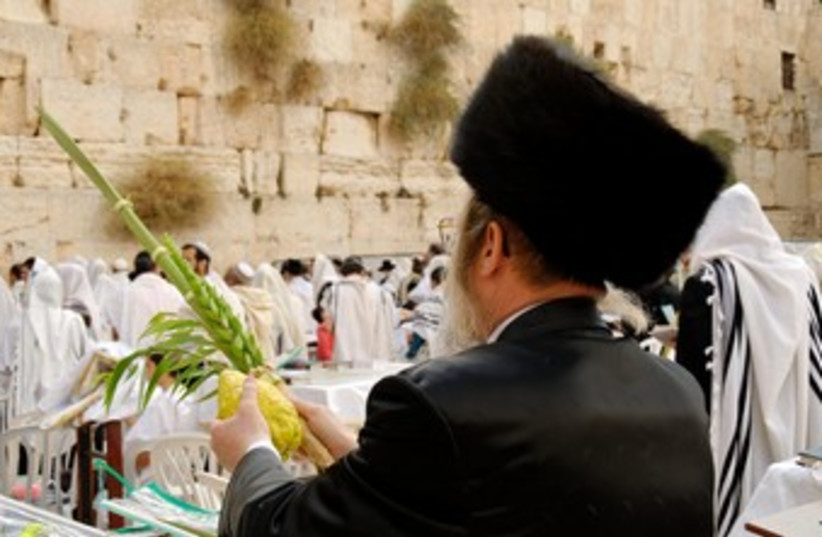 Man with four species at Kotel (photo credit: BiblePlaces.com)