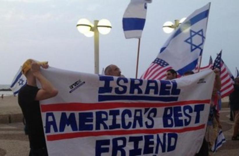 Israelis hold pro-US rally at embassy 370 (photo credit: Danielle Ziri)