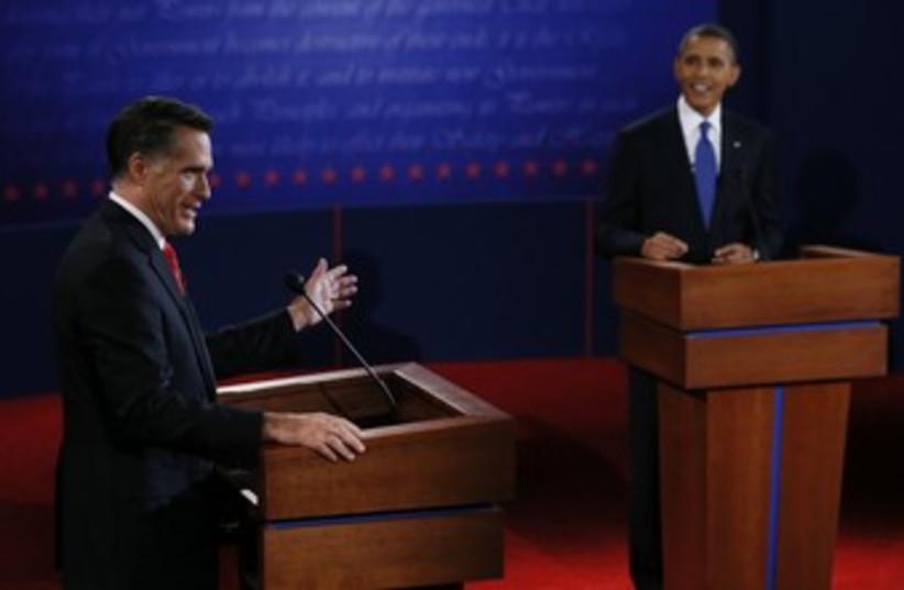 Obama and Romney US presidential debate 370 (photo credit: REUTERS)