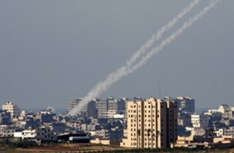 Kassam rockets being fired from the Gaza Strip 521 (photo credit: Nikola Solic / Reuters)