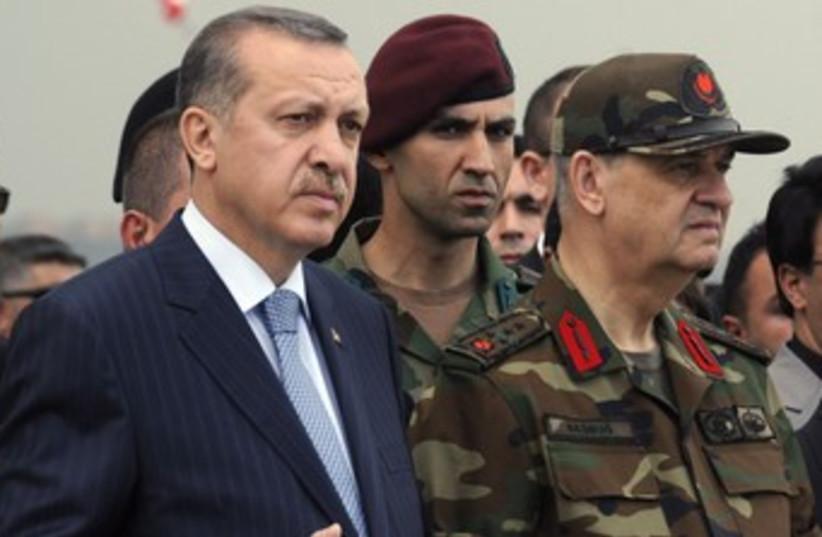 Turkish PM Erdogan with Chief General Basbug 370 (R) (photo credit: reuters)