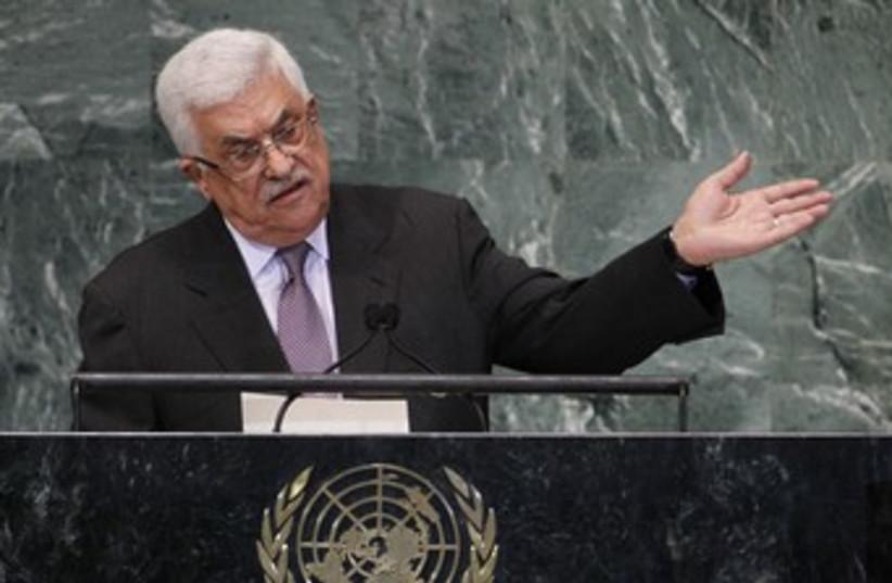 PA President Mahmoud Abbas at the UN 370 (R) (photo credit: Lucas Jackson / Reuters)