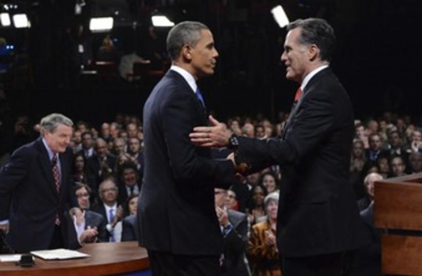 US President Obama with Mitt Romney at debate 370 (R) (photo credit: reuters / pool)