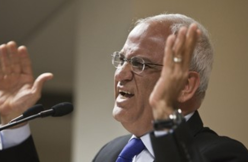 Chief PLO negotiator Erekat 370 (photo credit: REUTERS/NIR ELIAS)