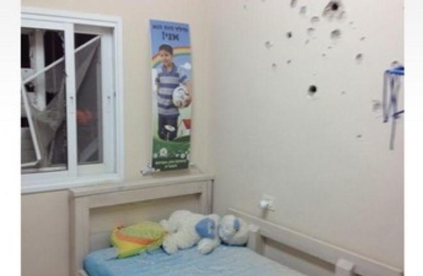 Bedroom damaged in Grad rocket attack 370 (photo credit: IDF Spokesman's Office)