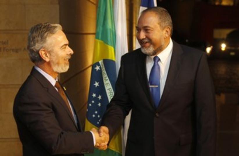 Brazil FM Patriota, Israel FM Liberman 370 (photo credit: REUTERS/Ronen Zvulun)