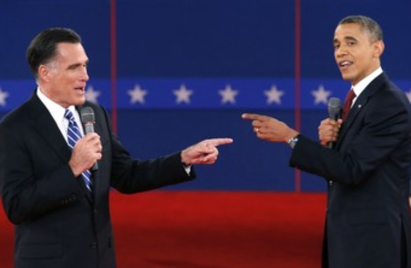 Romney, Obama point at eachother during debate 370 (photo credit: REUTERS/Mike Segar)