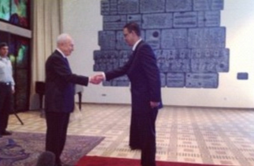 Peres and Egypt ambassador 370 (photo credit: Courtesy of President's Residence)