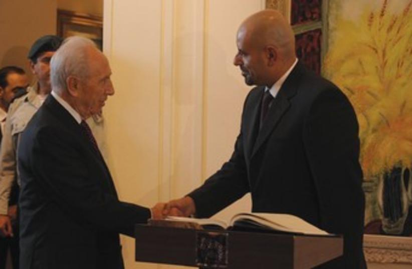 Peres and Jordan ambassador Obeidat 370 (photo credit: GPO)