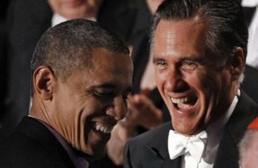Obama, Romney laughing funny 390 (photo credit: REUTERS/Jim Young)