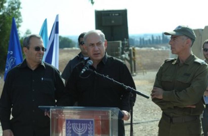 Netanyahu and Barak at Iron Dome site.