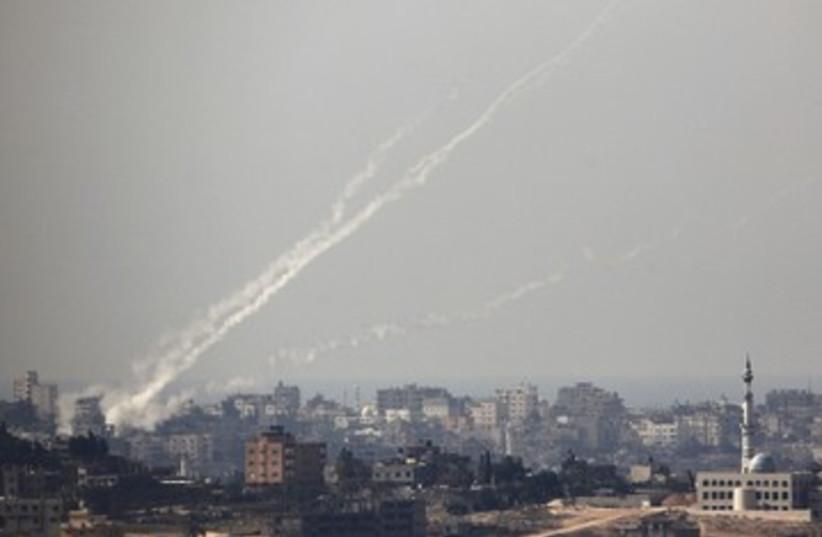 Rockets damage 6 390 (photo credit: REUTERS/Amir Cohen)