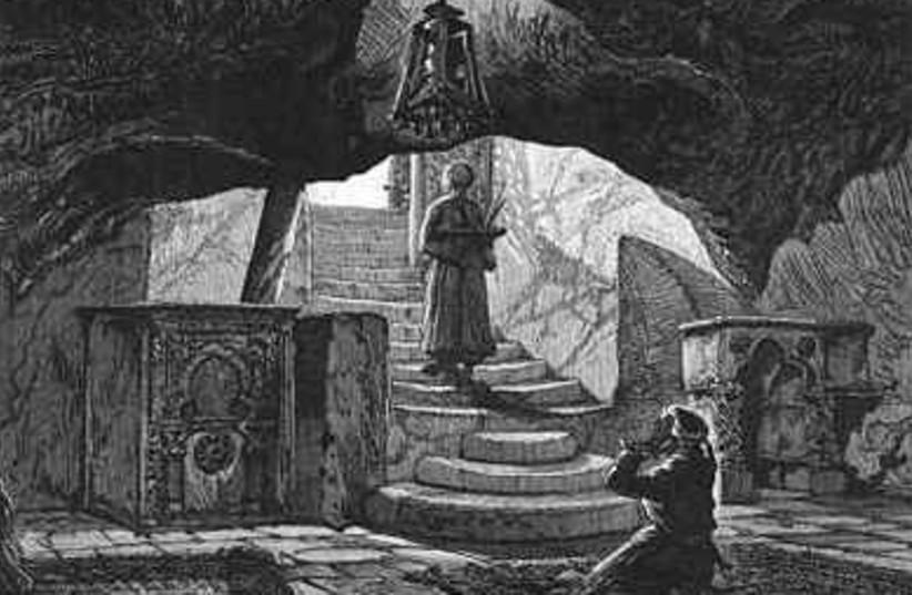 """Descent under the """"great rock"""" on Mt. Moriah  (und"""