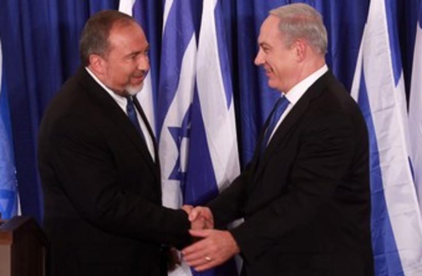 Liberman and Netanyahu 370 (photo credit: Marc Israel Sellem/ The Jerusalem Post)