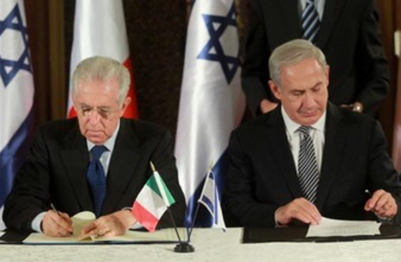 PM Netanyahu with Italian counterpart Mario Monti 370 (photo credit: Marc Israel Sellem/The Jerusalem Post)