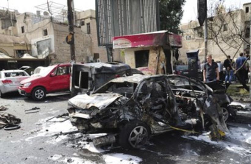 Damascus car bomb 370 (photo credit: REUTERS)