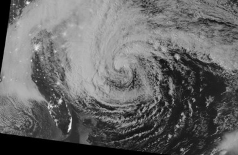 Hurricane Sandy pictured off east coast of US 370 (photo credit: REUTERS/NASA)