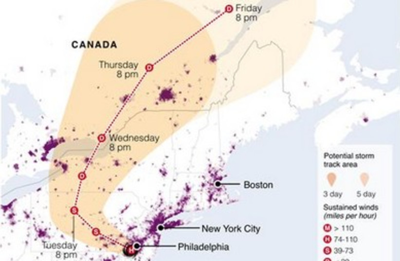 Populations in the path of Hurricane Sandy