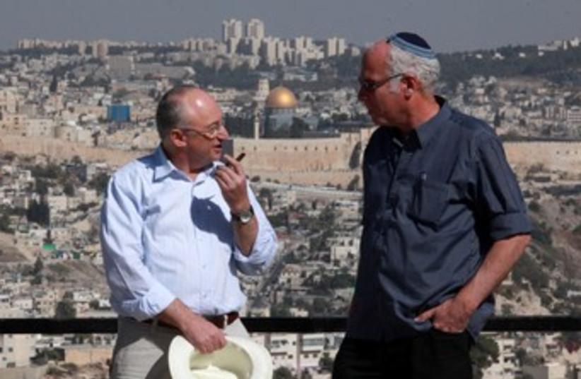 Uri Ariel, Arie Eldad in Jerusalem 370 (photo credit: LAHAV HARKOV)