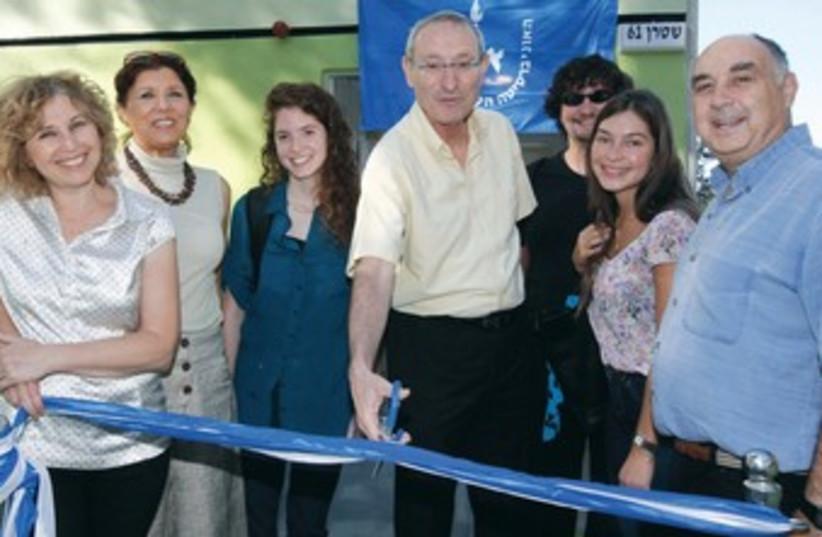 Hebrew U Pres. Menachem Ben-Sasson at ribbon cutting 370 (photo credit: Miriam Alster/Flash 90)