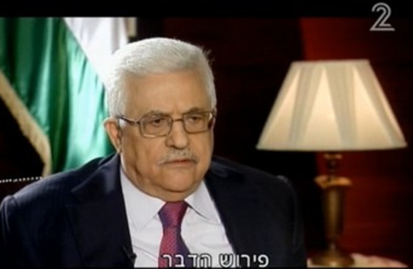 Mahmoud Abbas on Channel 2 (photo credit: Screenshot)
