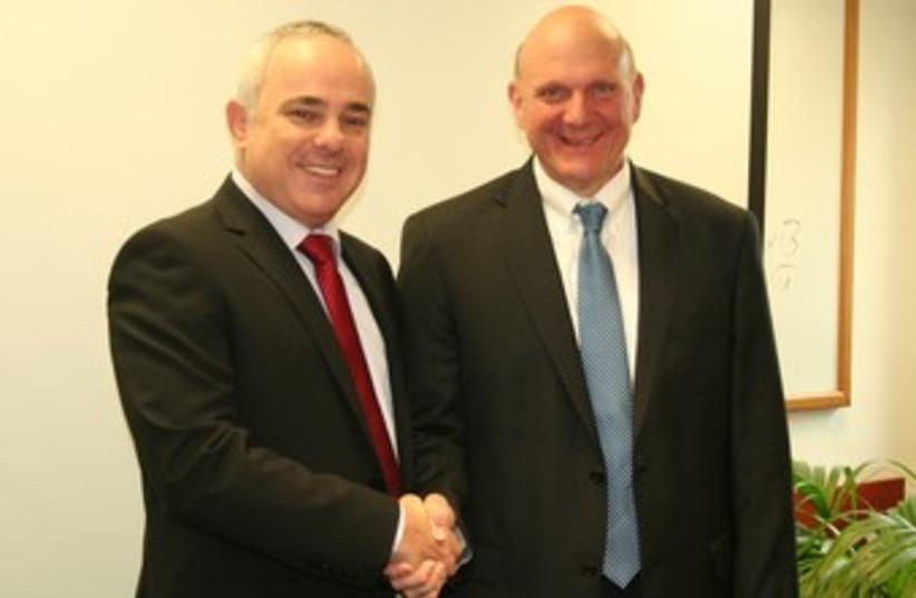 Finance Minister Steinitz with Microsoft CEO Ballmer 370 (photo credit: Ronen Leibowitz)