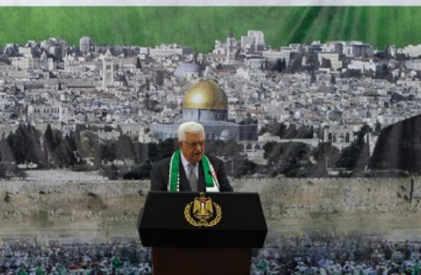Abbas gives speech marking Yasser Arafat's death 370 (R) (photo credit: Mohamad Torokman/Reuters)