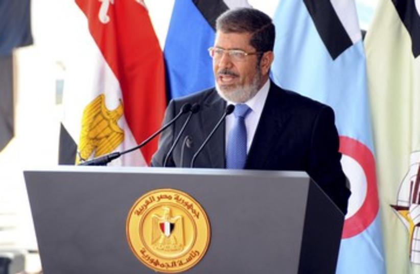 Egyptian President Mohamed Morsi speaking 390 (photo credit: REUTERS)